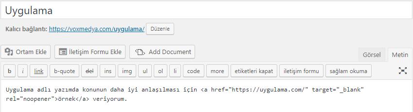 nofollow kodu uygulama