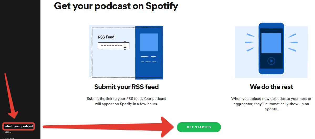 podcaster'lar için spotify