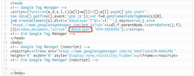 Data layer kod parçacığı, data layer nasıl görünür
