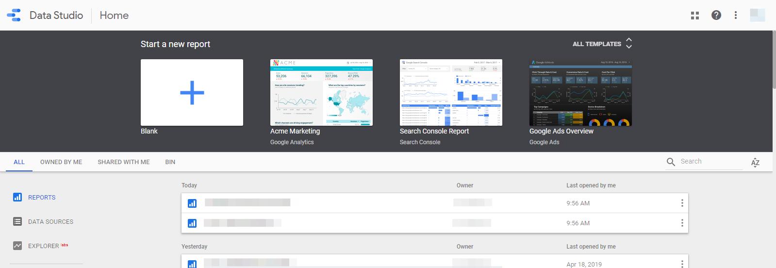 Data Studio Açılış Ekranı